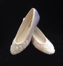 wedding photo - BALLET Alencon Lace Ballet Flats Wedding Shoes