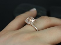 059c4d6022d3 Heidi 9mm 14kt Rose Gold Cushion Morganite and Diamond Basket Engagement  Ring (Other metals and stone options available)