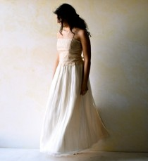 wedding photo - Boho Wedding Dress, Alternative Wedding Dress, Lace wedding dress, Fairy wedding dress, strapless wedding dress, Silk Bridal gown. Loretree