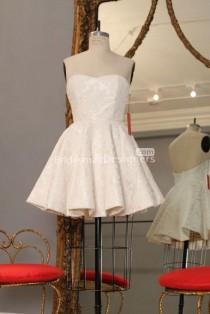 wedding photo - Fabulous Ivory Strapless Sweetheart A-line Lace Bridesmaid Dress