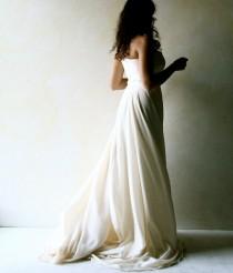 wedding photo - Long train Wedding dress, Bridal Gown, Fairy wedding gown, silk wedding dress, Strapless wedding dress, beach wedding gown, sweetheart dress