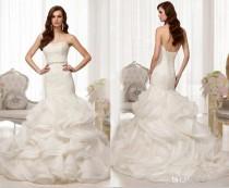 wedding photo - 2014 New Custom Sexy Strapless Mermaid Wedding Dress Bridal Gown Cascading Organza Ruffles Wedding Dresses Detachable Beaded Sash, $98.96