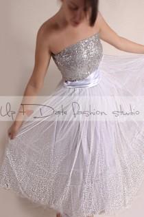 wedding photo - Wedding Dress/Vintage Inspired /  50s Style/Tutu tulle  tea length skirt with sequin Strapless