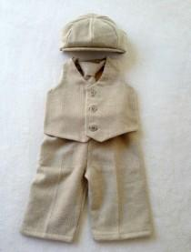 wedding photo - Ring bearer outfit, Newsboy Ring Bearer, Newsboy Outfit, Ring boy suit, Baby boy suit, tan ring bearer, boys khaki outfit, khaki ring bearer