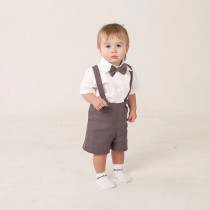 wedding photo - Boy linen suit ring bearer outfit baby boy clothes SET of 4 first birthday baptism suspenders kids rustic wedding beach grey Ready to ship