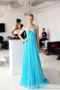 wedding photo - Ocean Blue Strapless Sweetheart Long Chiffon Pleated Prom Dress