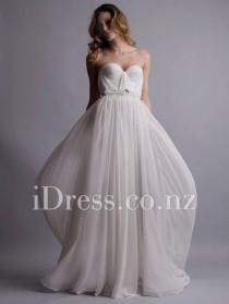 wedding photo - Floor Length Ivory Strapless Sweetheart Long Chiffon Prom Dress