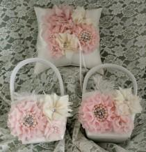 wedding photo - 2 Ivory or White Flower Girl Baskets and 1 Matching Ring Bearer Pillow-Feathers,Chiffon Flowers, Lace, Pearls and Rhinestones