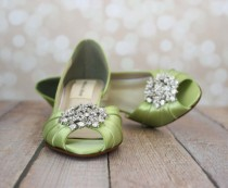 wedding photo - Wedding Shoes -- Spring Green Peeptoe Wedding Shoes with Silver Rhinestone Adornment