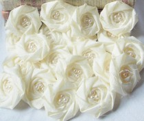 wedding photo - Wholesale Ivory Flower Rosette Bridal Flower Applique Rolled Rosette Flower Set of 25 DIY bridal bouquet