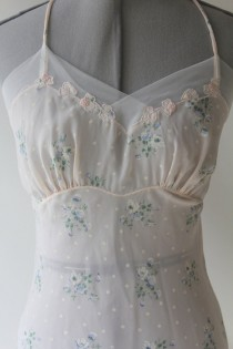 1ef4f9753 Nightgown in Winter White 1940 s with soft Blue and Pink Flowers and Dots  Small