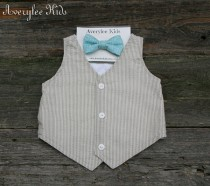 wedding photo - Boys Summer Vest, Khaki Seersucker Vest for Boys. Easter Outfit, Ring Bearer Outfit, Baptism Suit, Baby Boy Suit