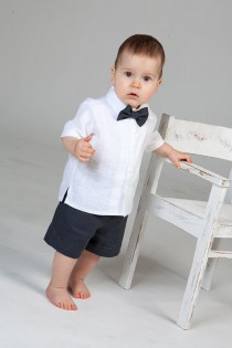 wedding photo - Baby boy wedding ring bearer outfit boy linen suit baptism natural clothes first birthday rustic wedding beach grey kids formal SET of 3