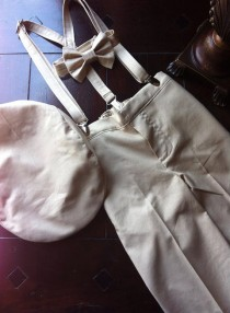 wedding photo - Cotton Ring Bearer Outfit; Ring Bearer Bow Tie, Ring Bearer Suspenders, and Pants. Wedding Outfit for Ringbearer
