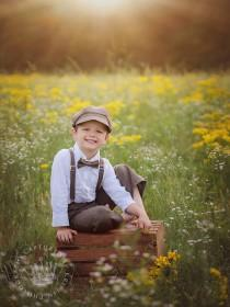 wedding photo - Ring Bearer outfit - brown vintage wedding - Newsboy hat suspenders pants bow tie - toddler boy set baby