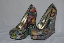 wedding photo - Comic Book Xmen Avengers Batman Katana More Unique Wedge High Heel Custom Hand Made Steve Madden Shoes  Size 7.5 Wedding Party Dancing