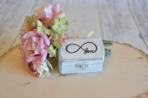 wedding photo - Rustic Wedding Ring Box Keepsake or Ring Bearer Box- Love Infinity-Personalized Inside- Comes With Burlap Pillow. Ships Quickly.