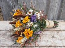 wedding photo - Autumn HARVEST Bridesmaid Dried Flower Bouquet - For a Rustic Country Wedding