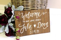wedding photo - Rustic Wooden Wedding Sign // Personalized Welcome Sign