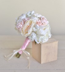 wedding photo - Silk Bridesmaid Bouquet Pink Roses Baby's Breath Rustic Chic Wedding NEW 2014 Design by Morgann Hill Designs