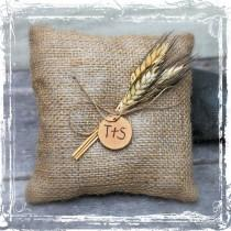 wedding photo - Wheat And Burlap Ring Bearers Pillow - Rustic Country Wedding - Southern Weddings - Tan, Brown, Neutral - Barn, Western, Farmstead - Fall
