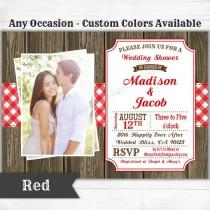 wedding photo - Picnic BBQ Western Invitation - Baby Bridal Wedding Shower Birthday Welcome Party - Rustic Gingham & Wood - Digital Printable Evite PDF JPEG