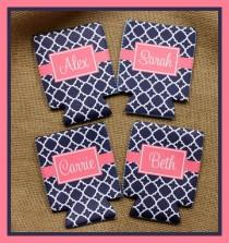 wedding photo - Can Koozie, Can Coozie Bridal Party Bridesmaids Groomsmen Gifts Personalized Can Koozie Personalized Can Koozies Coozies Custom Can Wrap