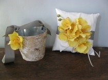 wedding photo - Rustic Flower Girl Basket and Ring Bearer Pillow SET  Natural Birch Bark shown pewter gray and yellow orchids