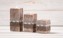 wedding photo - Rustic Wedding Centerpiece Ceremony Candles Wood Candle Holders Set of Three Burlap and Lace Wedding Decor Table Top Accessory