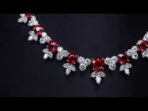 wedding photo - Ruby And Diamond Cluster Necklace