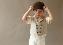 wedding photo - Boys vest Ring bearer vest Wedding party outfit Toddler boy vest Natural linen vest Double breasted vest Family photo outfit