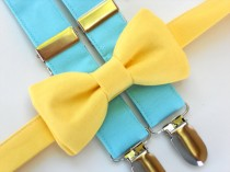 wedding photo - Ring bearer outfit, blue suspenders, boys bow tie and suspenders, yellow bow tie, toddler wedding outfit, boys 1st birthday outfit
