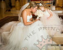 wedding photo - Ivory, champagne, and rosette flower girl dress. tutu dress