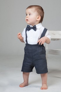 wedding photo - Boy linen suit ring bearer outfit baby boy clothes SET of 4 first birthday baptism suspenders kids natural summer rustic wedding beach grey