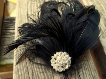 wedding photo - Black Friday Specials -Black Swan Feathered Fascinator - Crystal jeweled center -feather fascinator bridal hair clip