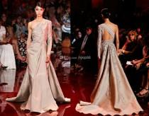 wedding photo - 2014 New Elie Saab A-line One-shoulder Sexy Evening Dresses Long Sleeve Applique Beaded Ruched Belt Satin Wedding Dresses Online with $121.64/Piece on Hjklp88's Store