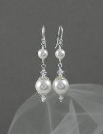wedding photo - Bridal Earrings Long Dangle Pearl wedding earrings Swarovski Wedding jewelry, Swarovski Pearls, Swarovski Crystals, Abigail Earrings