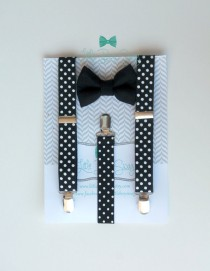 wedding photo - Black Bow Tie with Polka Dot Suspenders..Boys Bow Tie Suspenders Set..Ring Bearer Outfit..Baby Boy Suspenders..Kids Clothing..Baby Clothing