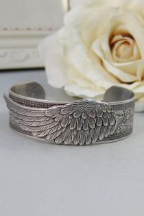 wedding photo - Angel Wing,Bracelet,Cuff,Silver Bracelet,Cuff Bracelet,Bracelet,Silver,Angel,Wing,Wedding,Bride.Handmade Jewelry by valleygirldesigns.