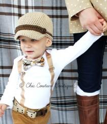 wedding photo - Baby Boy Easter Spring Bow Tie & Suspenders Bodysuit. Brown, Tan, Chocolate Plaid. Mustache Cake Smash 1st Birthday Outfit, Ring Bearer