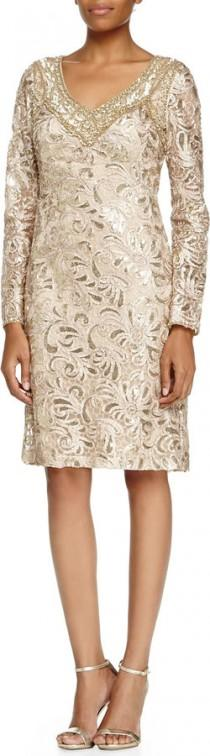 wedding photo - Sue Wong Long-Sleeve Sequined Lace Cocktail Dress