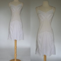 wedding photo - 1960's white night gown 60's slip eyelet lace adjustable straps cotton lingerie vintage negligee size Large size 10