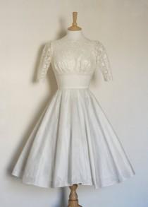 wedding photo - Ivory Silk Dupion Lace Wedding Dress with Circle Skirt - Made by Dig For Victory