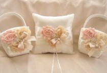 wedding photo - Two Flower Girl Baskets and Pillow -  Blush Rose Blossom Ivory Ring Bearer Pillow, Flower Girl Basket Vintage CUSTOM COLORS