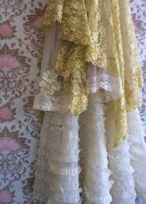 wedding photo - butter celedon cream organdy & lace boho wedding dress by mermaid miss k