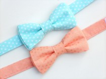 wedding photo - Boys peach bow tie, mens peach bow tie, ring bearer bow tie, toddler bow tie, little boy bow tie, groomsmen bow tie, boys wedding outfit