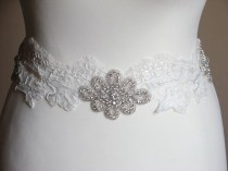 wedding photo - Ivory dress sash Rhinestone sash Lace rhinestone sash Rhinestone belt Rhinestone lace sash Bridal lace sash Ivory lace sash Bridal sash