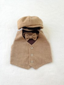 wedding photo - Hat vest tie set, Ring Bearer, Baby boy outfit, Baby vest set, Boys vest outfit, Brown vest set, Newsboy Ring Bearer, Page boy, Houndstooth