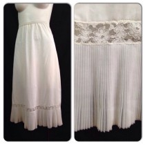 wedding photo - Vintage 1950s White Nylon Lace Slip / 50s Pleated Trim Lingerie Small Rockabilly Pinup