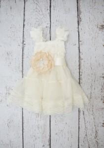 wedding photo - Flower girl dress - lace flower girl dress -girls ivory dress - baby ivory dress -Babydoll dress - tutu dress - flower girl dresses -baby